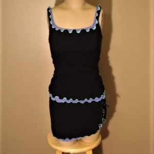 Two Piece Black Tankini with Ruffle Detail Size 14